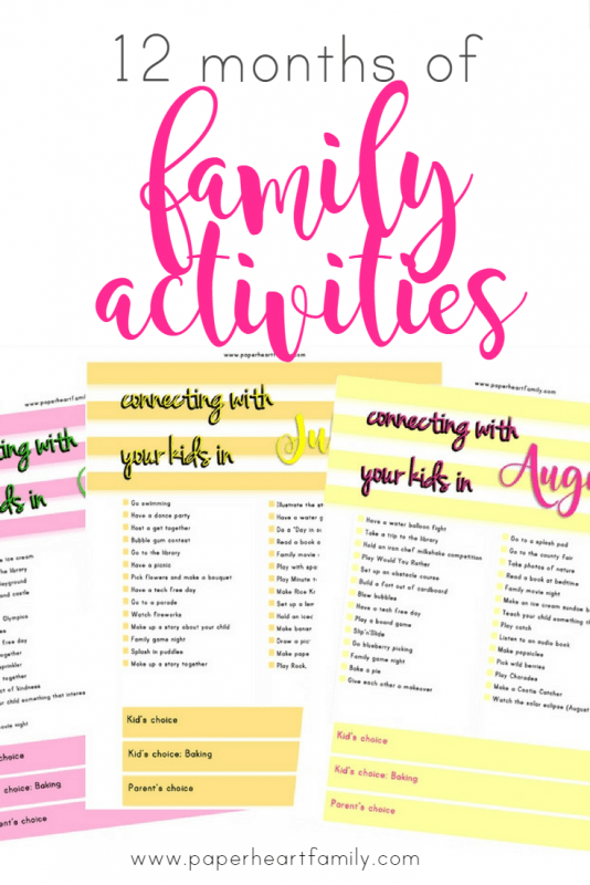 12 Months of Family Activities- Get your free printbale! An entire year of simple, fun and unique family activities.