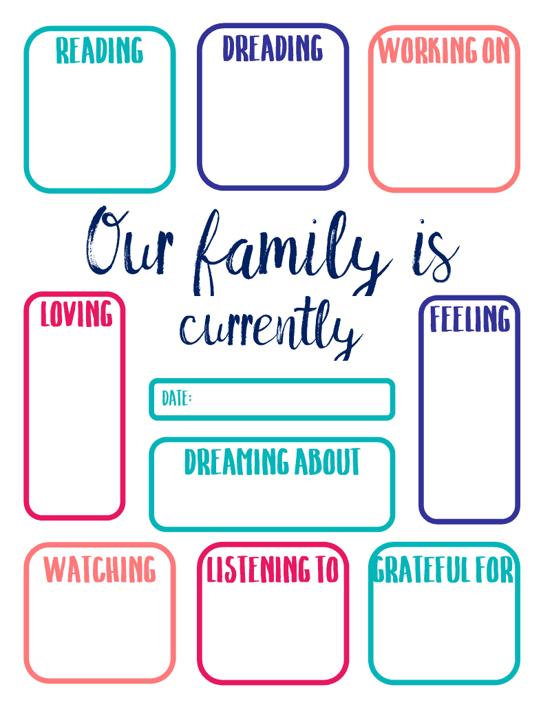 Document the lives of your family right now with this fun, free printable.
