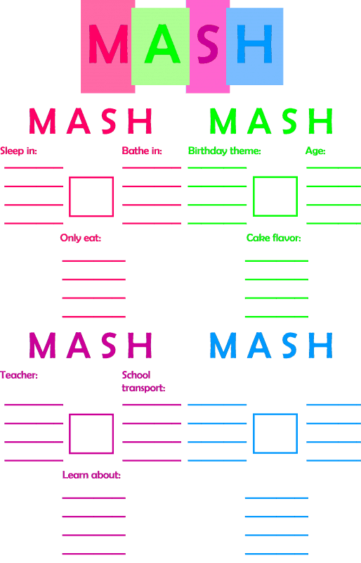 Do you remember how to play MASH? Well now you can play it with your preschooler. You and your child will have fun, and your child will learn along the way!