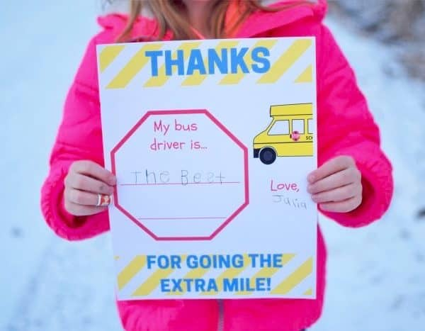 Bus Driver Appreciation Printable – Thanks for Going the Extra Mile