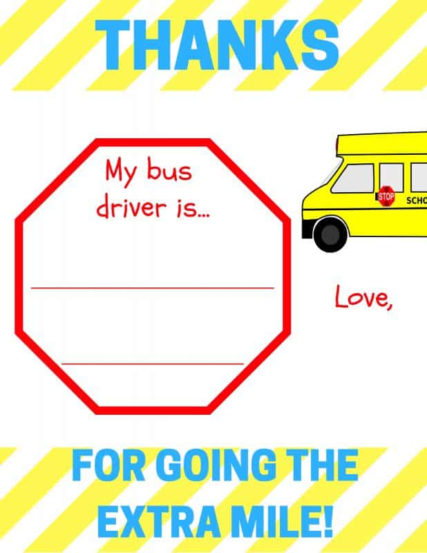 Does your child have an amazing bus driver? Download my free printable school bus driver appreciation card. It's the perfect gift to tell any bus driver thank you!
