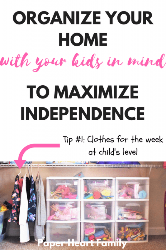 Need tips for dealing with your super independent toddler? Or maybe your trying to teach your child independence. Organize your home to make it easy for your kids to foster independence!