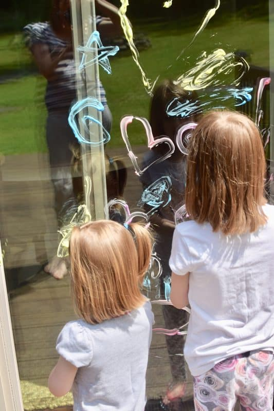 free summer activities for kids- shaving cream window art