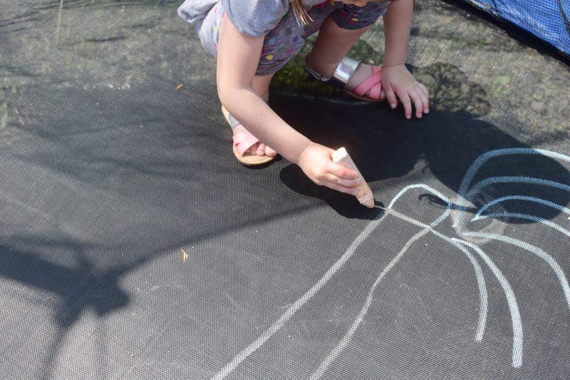 sidewalk chalk trampoline art