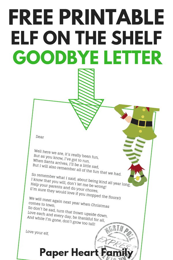 A sweet, free printable Elf on the Shelf goodbye letter that reminds your kids to be good all year.