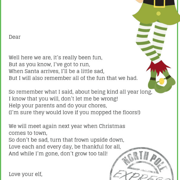 photo about Printable Elf on the Shelf Goodbye Letter identified as Elf Upon The Shelf Goodbye Letter- The Excellent Elf Upon The