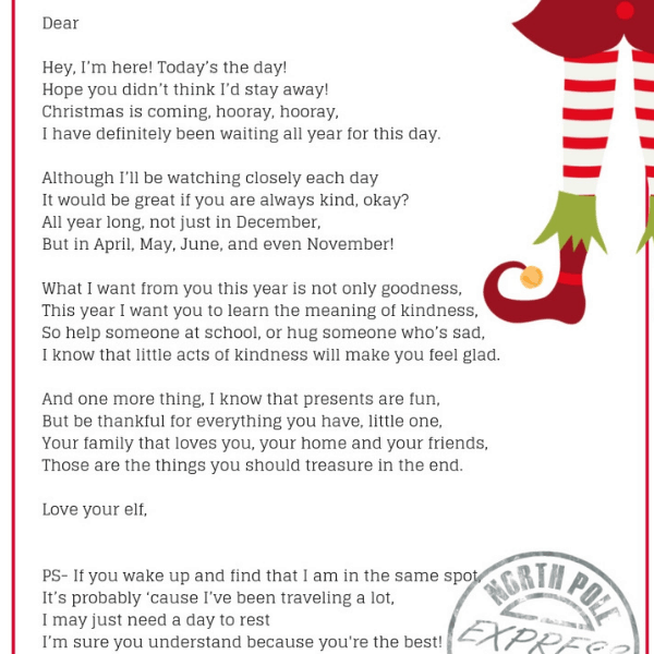 Arrival Ideas For Elf On The Shelf- Welcome Letter