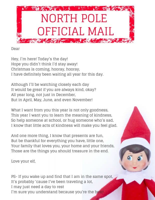 This Elf on the Shelf arrival letter welcomes your elf back and sends a message of kindness and thankfulness.