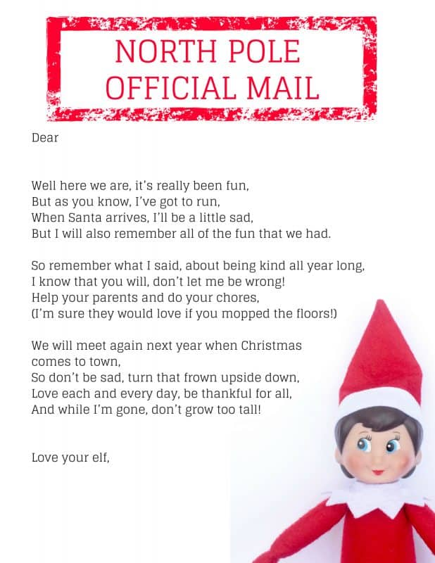 Help your kids transition from elf fun to elf letdown with this free printable Elf on the Shelf goodbye letter.