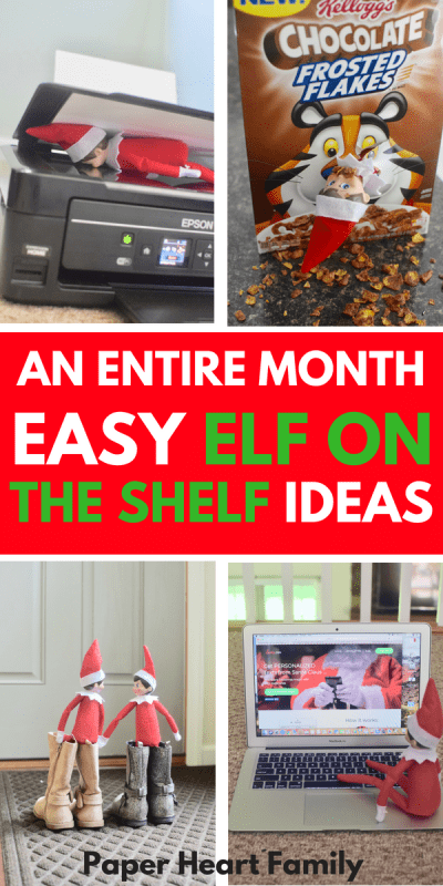 An entire month of easy elf on the shelf ideas for Christmas.