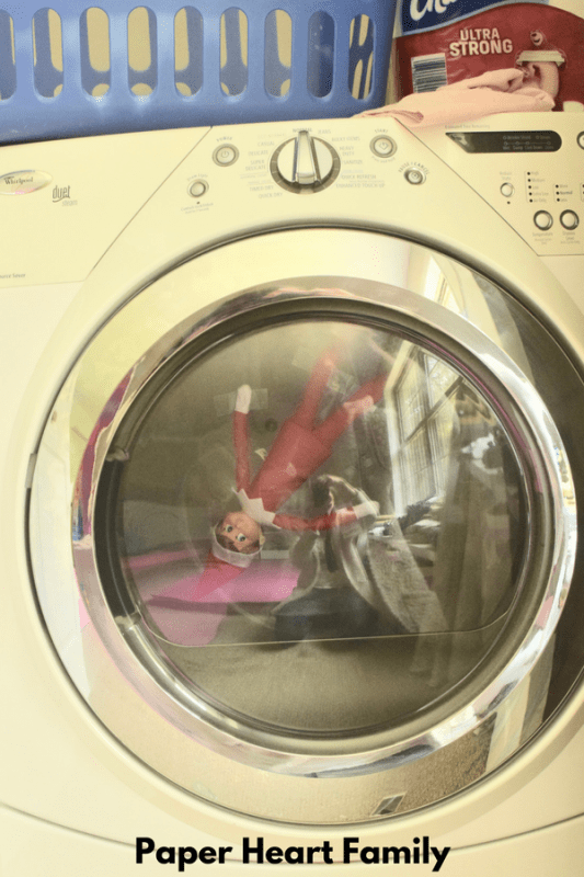 Elf on the Shelf in the dryer.