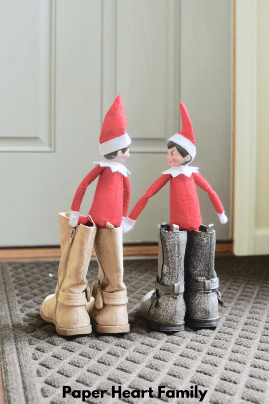 These elves on the shelf are ready to make their departure back to the North Pole.