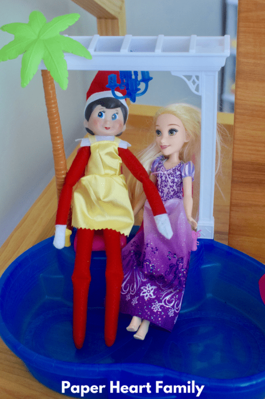 Elf clothes are boring. This Elf on the Shelf took some fashion pointers from Rapunzel.