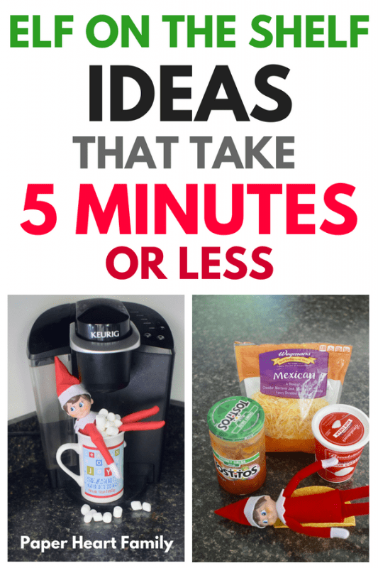 Quick Elf on the Shelf ideas that will take you 5 minutes or less, but still have a wow factor!