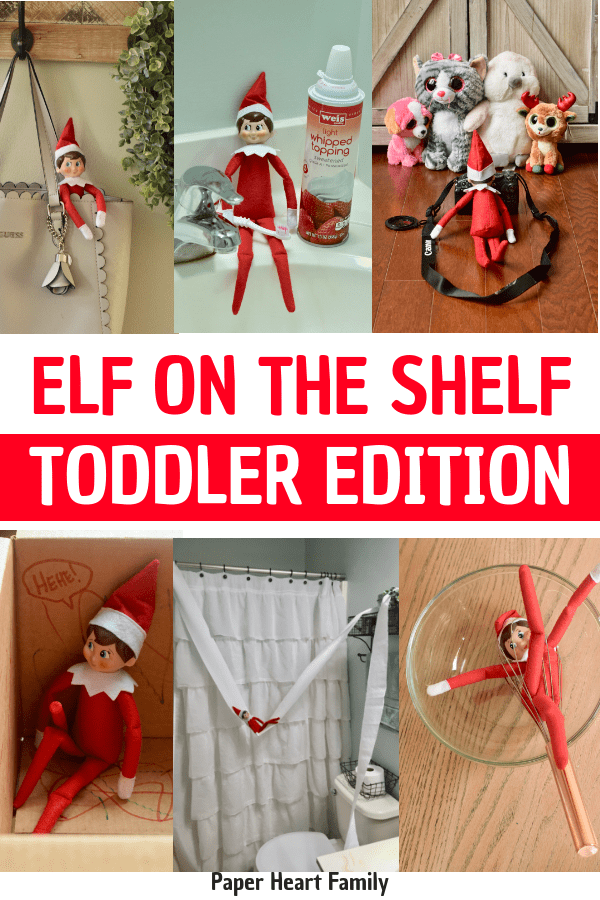 Easy Elf on the Shelf ideas for toddlers.