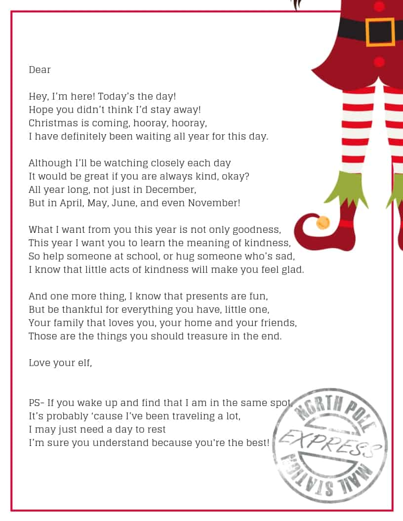 The perfect way to welcome your Elf on the Shelf- arrival letter.