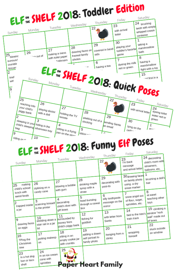 Four different Elf on the Shelf calendars, one that is blank, one with funny ideas, one with toddler ideas and one with quick, easy ideas.