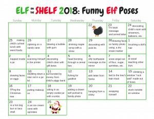 Elf on the Shelf calendar of funny ideas.