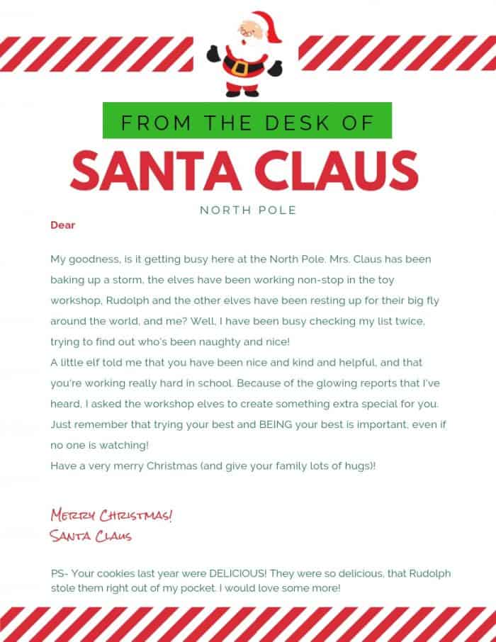 Your kids will love receiving this printable letter from Santa .