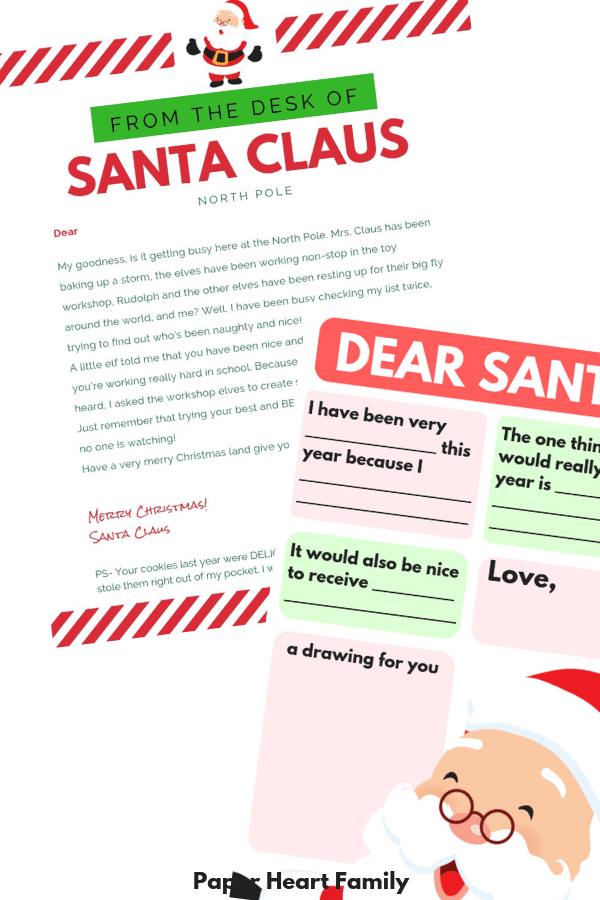 Have your kids write to Santa with this Letter to Santa template, and then receive a letter from Santa too!