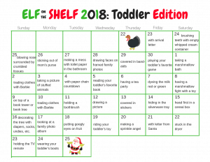 Simple toddler ideas for the Elf on the Shelf in an easy to use calendar.