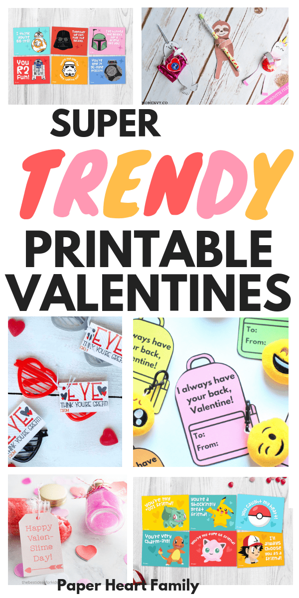 The cutest free printable Valentine cards for kids- unicorns, narwhals, sloths, emojis, squishies, slime and more!