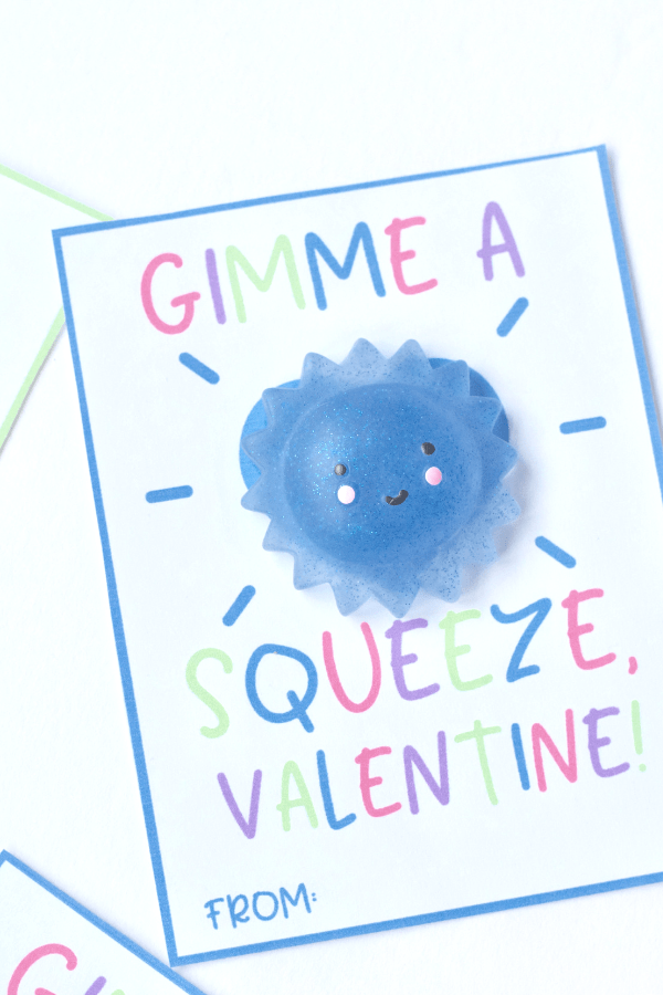 Adorable Valentines for kids featuring their favorite Kawaii Squishy toys.