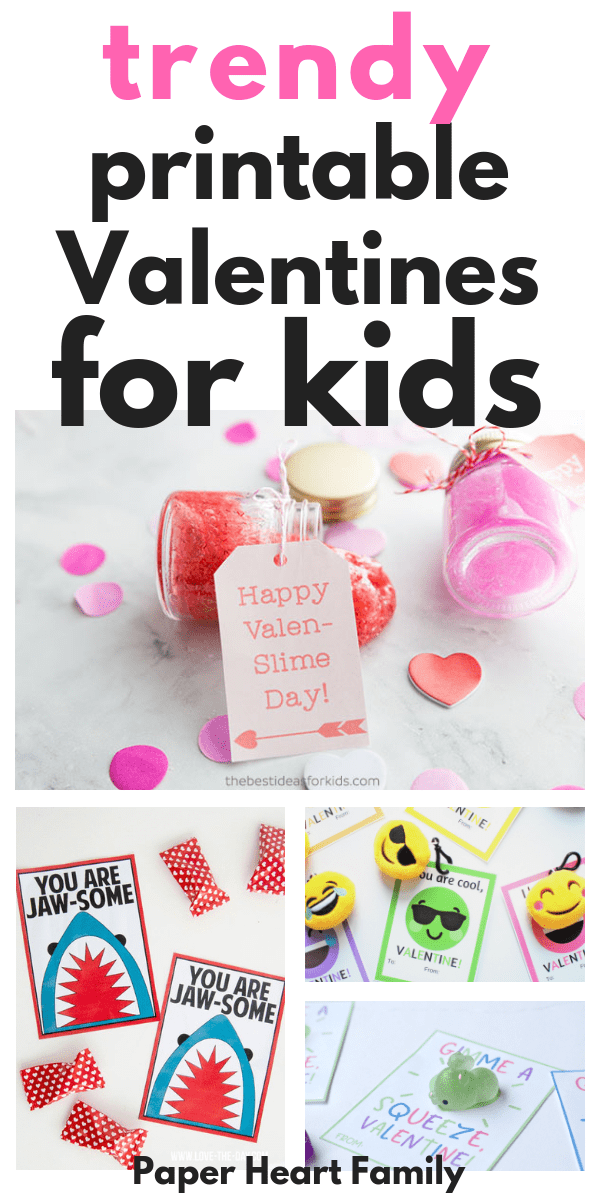 Valentine card printables that kids will love, featuring super trendy cards like sharks, fun glasses, slime, unicorns, emojis, squishies and more.