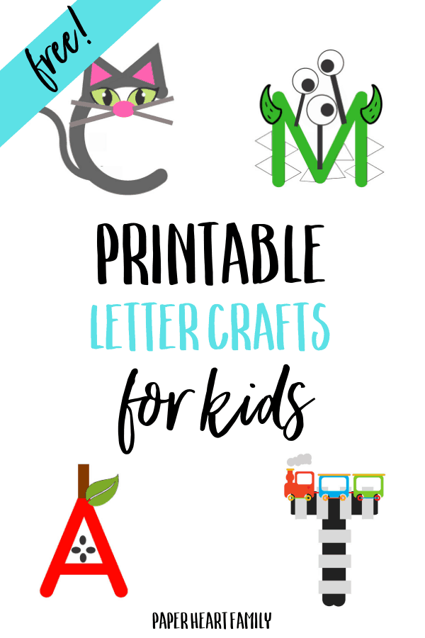 Easy printable letter crafts for toddlers and preschoolers. Simply print, cut and paste!