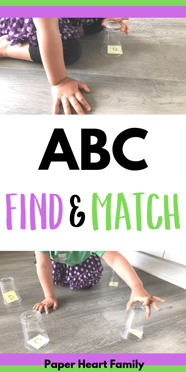 Alphabet activity for toddlers that is low prep and active for toddlers and preschoolers.