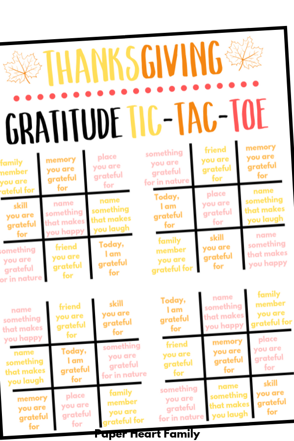 Gratitude Activity for kids with tic-tac-toe