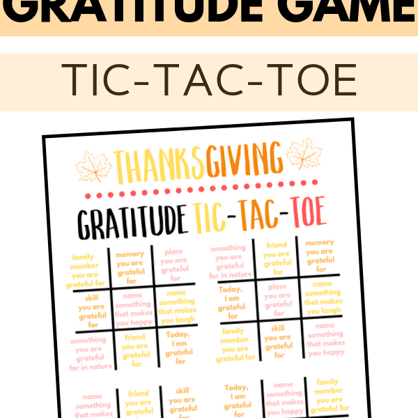 Thanksgiving Tic-Tac-Toe Gratitude Activity For Kids