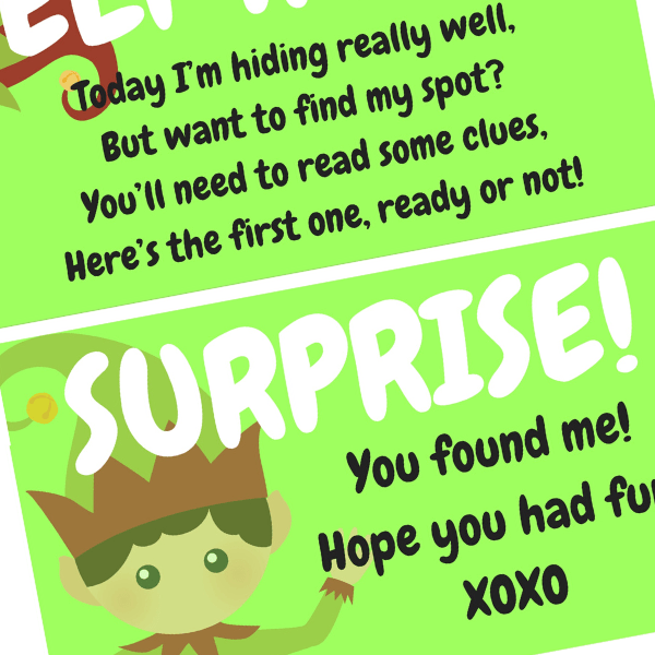 FREE Elf On The Shelf Scavenger Hunt Printable
