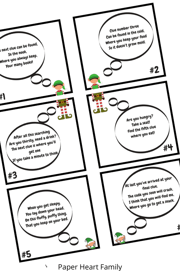 Elf on the Shelf scavenger hunt riddles- free printable
