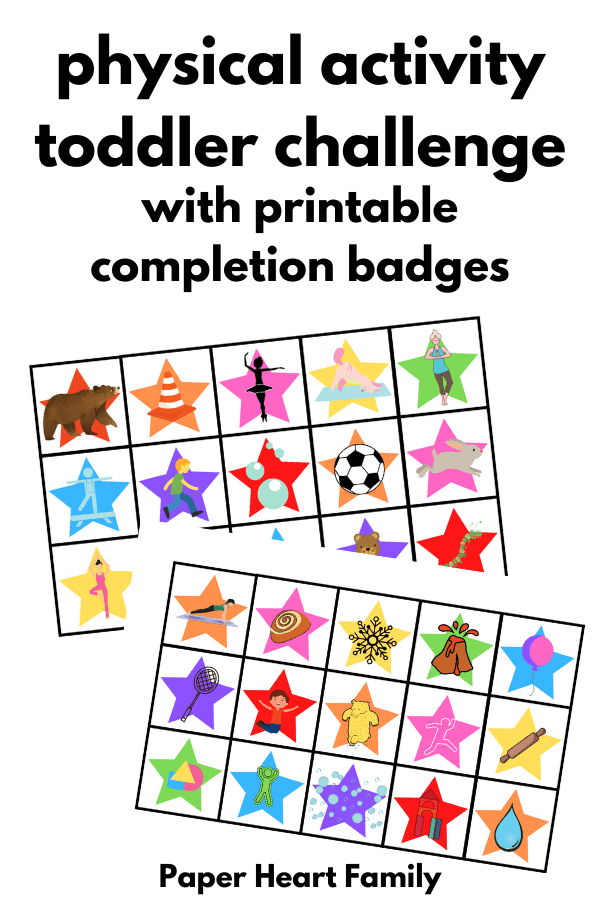 Physical activity toddler challenge with printable completion badges