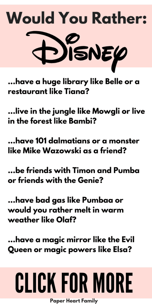 Disney would you rather questions for kids