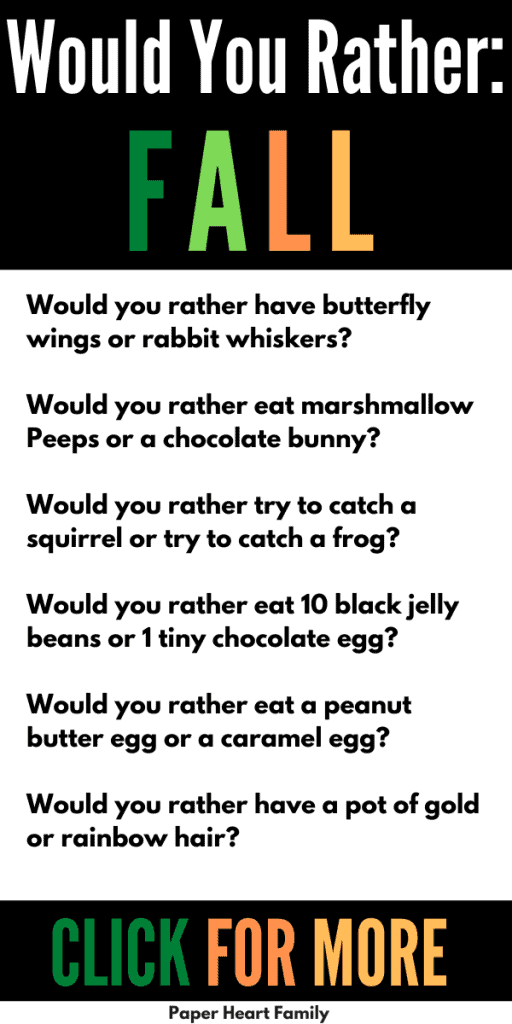 Fall would you rather questions for kids