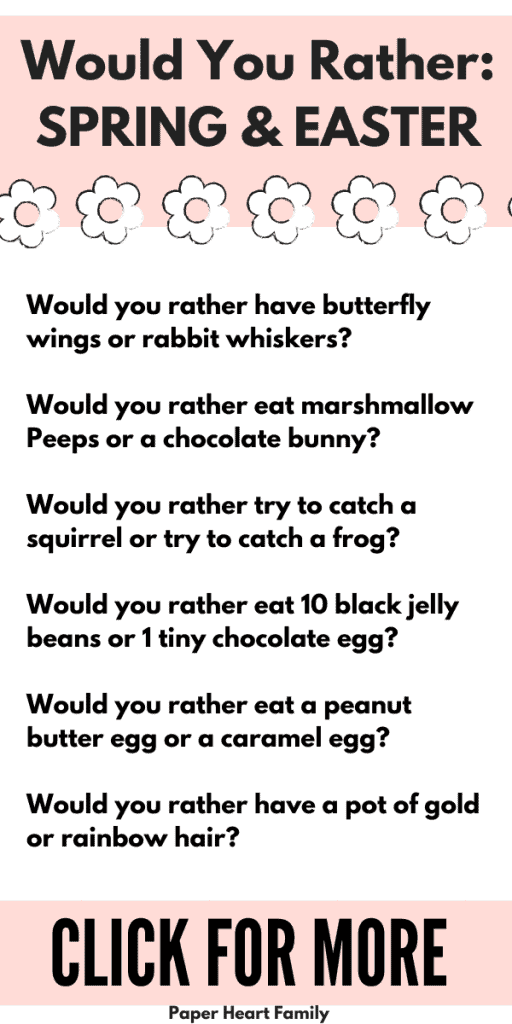 Easter and Spring would you rather questions for kids