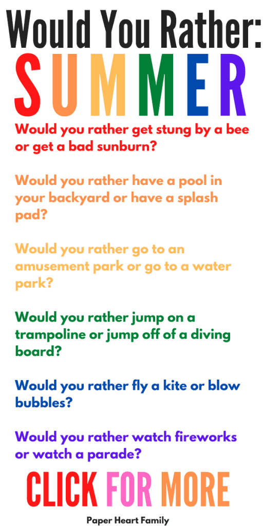 Summer would you rather questions for kids