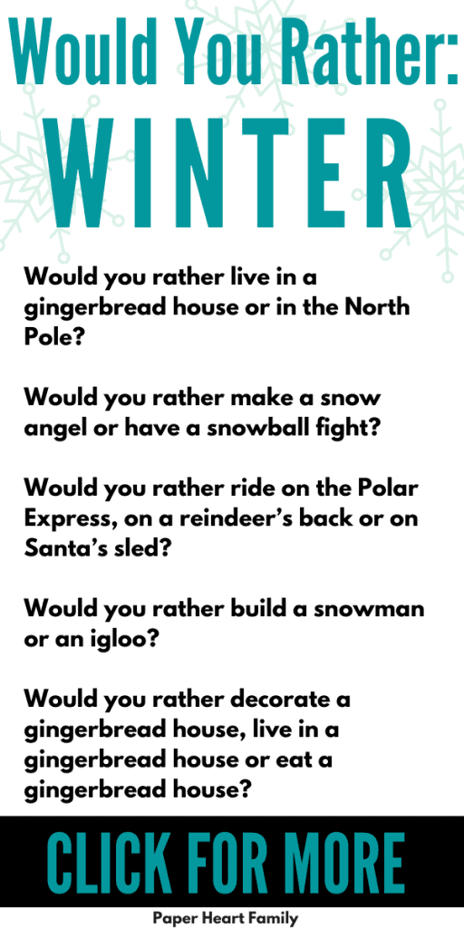 Winter and Christmas would you rather questions