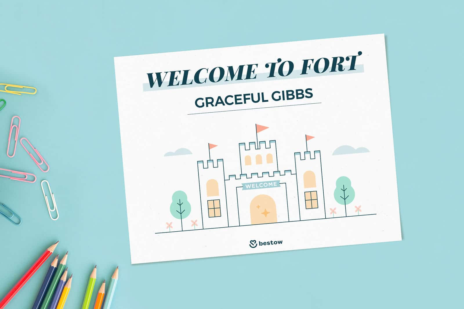 Pillow fort printable welcome sign